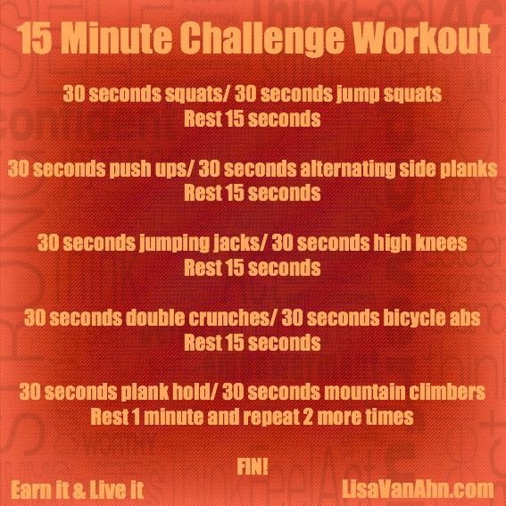 15 minute challenge workout