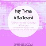 Day Three Rachel's Backyard: 25 Workouts In 25 Days